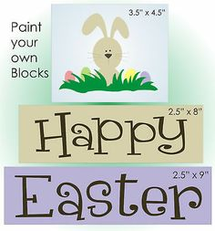 Primitive STENCIL Happy Easter Spring Bunny Eggs Grass Country craft Sign Blocks