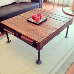 Industrial style coffee table - DIY. I like that this one has storage, but doesn't look like a box.