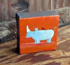 Childrens Decor, Original Rhino Art for Kids, Jungle Nursery, Original Acrylic Painting. $25.00, via Etsy.