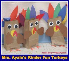 Turkey Craft Using Paper Bags from Mrs. Ayala's Kinder Fun via RainbowsWithinReach