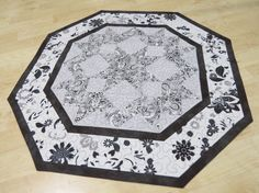 Black White & Gray Table Topper Reversible 243 by QuiltinWaYnE