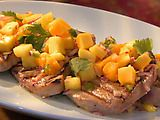 Grilled Tuna with hot pineapple papaya salsa