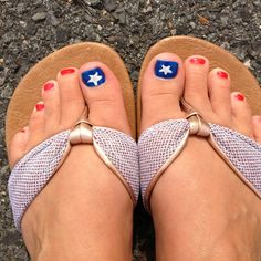 My 4th of July pedicure -red, white  blue for the American flag ( some silver glitter on the star!) Go USA! :)