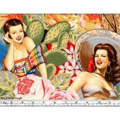 Alexander Henry fabric - Las Senoritas Tea Mexican Cotton