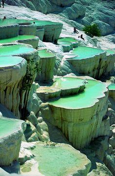 Natural rock pools in Pamukkale, Turkey.