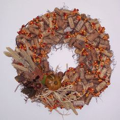 Fall wine cork wreath!