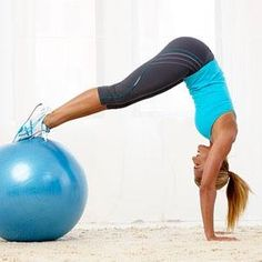 Feeling daring? Try mastering the Ball Pike during your next ab #workout. #fitnessmagazine
