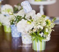 Flower Pots Decorated for Weddings | Request a custom order and have something made just for you.