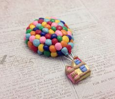 "Balloon House Brooch/Magnet, Polymer Clay, Pixar's ""Up"" on Etsy, $18.00 polymer clay magnets, mold clay, polym clay, balloon"