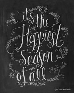 Holiday Sign - 11 x 14 Print - Most Wonderful Time Of The Year Lyric - Chalkboard Decor - Hand Lettered Christmas - Black White Christmas