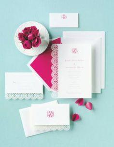 Pink & White Wedding Invitations
