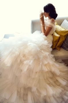 I like the soft fabric over the shoulders... skirt, wedding dressses, ruffl, sleev, dream wedding dresses, the dress, the bride, tea, white gowns