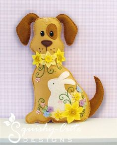 Felt Plushie Sewing Pattern & Tutorial - Daffodil the Easter Dog - Embroidery Pattern PDF