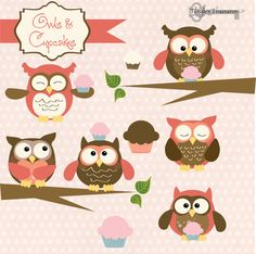 Instant Download - Owls and Cupcakes: Digital Clipart Set owl