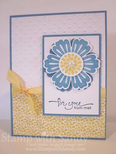 handmade card ... blue, yellow and white ... Mixed Bunch flower ... pretty and light ... Stampin' Up!