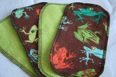 Tree Frogs Flannel Cloth Diaper Wipes 4ct  half by LagamorphLounge, $3.00