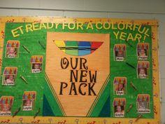school bulletin boards, back to school bulletin board, melted crayons