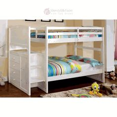 White Kids Stairway Twin Twin Bunk Bed with Step Drawers