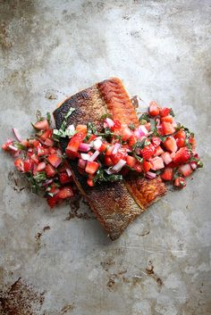 crispy salmon with strawberry basil salsa.