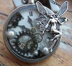 Steampunk Captured Fairy Pocket Watch Necklace