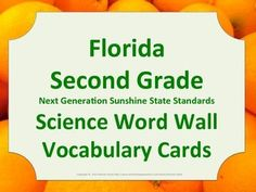 Florida Science Word Wall 2nd Second Grade Vocabulary NGSSS Aligned Orange Border