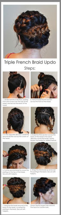 Triple French braid updo tutorial -- beautifully romatic