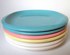 "Vintage 1950's Boontonware ""Belle"" Side Plates in a Rainbow of Pastel Aqua, Pink, Yellow & White, Melmac Melamine Dinnerware Dishes"