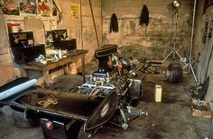 Ronnie Peterson's Lotus 72E in the old dank garages at Nurburgring at the 1973 German GP. Petersen set a time in qualifying that put him on the outside pole, however ignition issues kept him from completing even one lap of the 14 lap race.