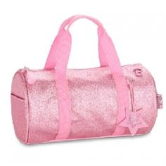 "This pink sparkalicious handbag duffle is the perfect accessory for storing your little girls' everyday essentials!  Features 2 exterior side pockets and 2 interior slip pockets.  Measurements:  11"" wide x 6"" deep x 6.5"" high"