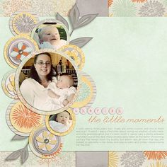 Love the use of circles here.  And layered background strips.  Some great ideas in here.