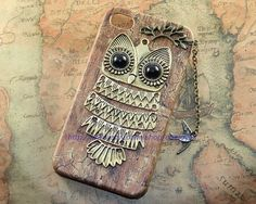 Cutu Owl iphone caselovely fly bird PU leather case by OneLoveLi, $12.99