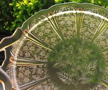 Jeanette Depression Glass Sandwich Plate Pink Cherry Blossom
