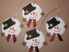 Melting Snowmen Gift Tags - all the pieces from Stampin' Up Punches (but you could come up with your own pieces, too!) DIY
