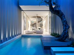 interior, swimming pools, house design, blue, modern houses, spiral staircases, courtyard, minimalist home, art deco