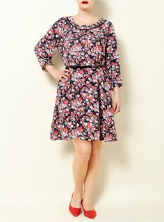 Swan by Clements Ribeiro Belted Floral Print 'Frida' Dress plus size