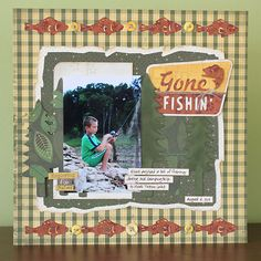 This is the perfect layout for fishing! Made with Campin' Critters and Camp Out cartridges! #cricut