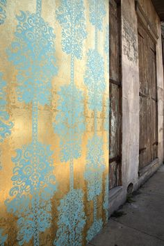 Love this gold leaf wallpaper dining rooms, pattern, blue, color, powder bath, paper, wall treatments, small rooms, accent walls
