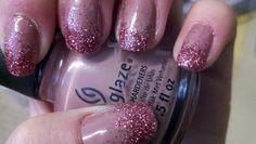 Pink glitter tip nails!