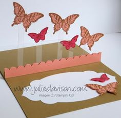 VIDEO Tutorial for Floating Pop-Up Card. This sample uses Stampin' Up! Papillon Potpourri and Bitty Butterfly Punch. Created by Julie Davison, http://juliedavison.blogspot.com/2013/07/papillion-potpourri-floating-pop-up-card.html