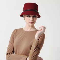 New Arrival Burgundy Wool Blends Belt Derection Hat