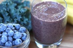 This one couldn't be easier. OJ, bananas and blueberries + kale. Done and done.