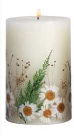 daisy candle - use dried flowers