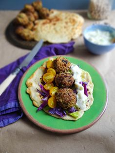 Falafel & homemade flatbreads with tzatziki