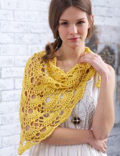 Free Knitting pattern - Bernat Yes Yes Shawl - Patterns  | Yarnspirations