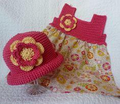Crochet top fabric bottom dress. Free pattern
