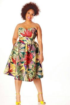 Curvy dress in large floral print