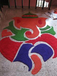 Diwali decoration on pinterest ganesha diwali and for Home made rangoli designs