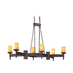 Troy Lighting Chandelier with Beige / Cream Glass in Weathered Rust Finish | F2586 | Destination Lighting
