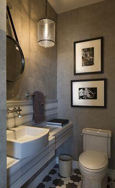 Artistic Designs for Living - bathrooms - gray wallpaper, gray wallpapered walls, textured gray wallpaper, wallpaper in powder room, wallpap...