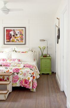 Bedroom. Floral bedspread.  Lime green nightstand. Love It or List It Vancouver.